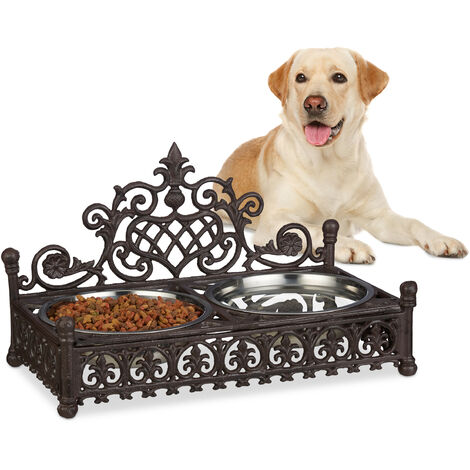 Relaxdays Raised Dog Bowl Station for Large Dogs, Antique Design, XL Cast Iron Feeder Tray Set, 1 L Stainless Steel Bowls, Brown