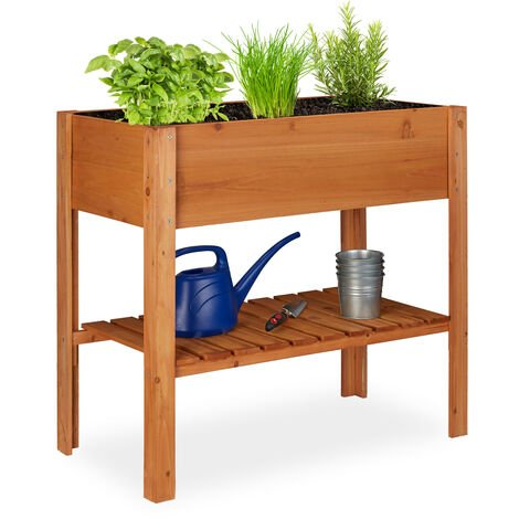 Relaxdays Raised Flowerbed, Fir Wood, Shelf, 4 Legs, Plant Box, Flowers, Herbs, HxWxD: 80 x 88 x 43.5 cm, Red-Brown