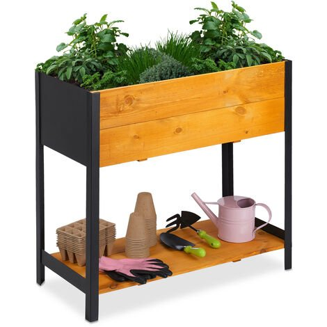 Relaxdays raised planter, garden bed with shelf, outdoor, includes liner, 78x36x72 cm (LxWxH), natural wood & black iron