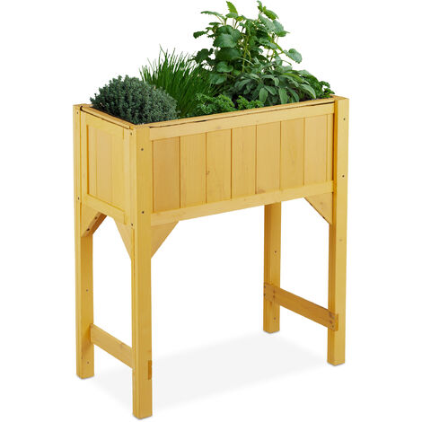 Relaxdays raised wooden planter, flower bed on legs, 40 x 80 x 90 (LxWxH), with lining, outdoor, garden, patio