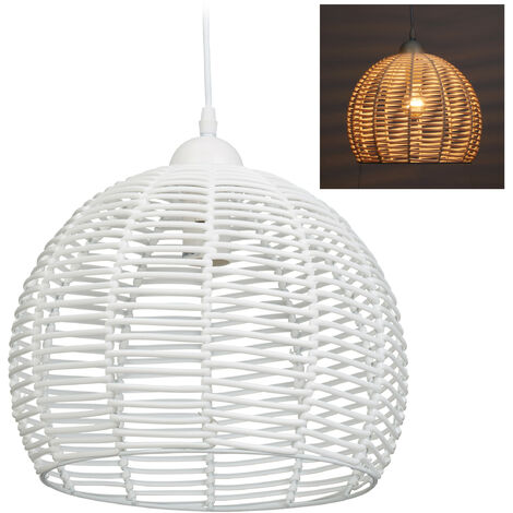 Relaxdays Rattan Lamp for Kitchen, Living Room & Dining Area, E27 Socket, 40W, Pendant Light, HxD: 120x28 cm, White