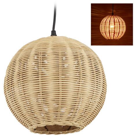"""main image of """"Relaxdays Rattan Lamp, Lampshade with Wicker Look for Kitchen, Bedroom & Dining Area, E27, HxD 126 x 22 cm, Natural"""""""