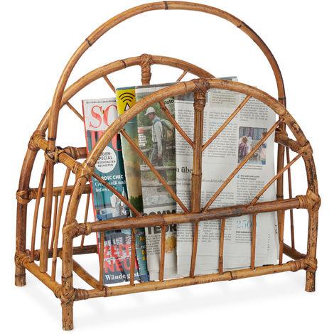 Relaxdays Rattan Newspaper & Magazine Rack, Curved Newspaper Holder, HxWxD: 47 x 43.5 x 20.5 cm, Wooden, Natural