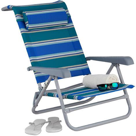 Relaxdays reclining beach chair, sun lounger, headrest, adjustable, folding, armrest & bottle opener, blue/green/white