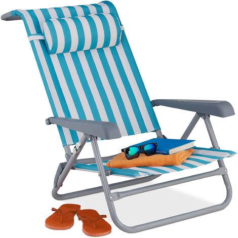 Relaxdays reclining beach chair, sun lounger, headrest, adjustable, folding, armrest & bottle opener, blue/white, modern