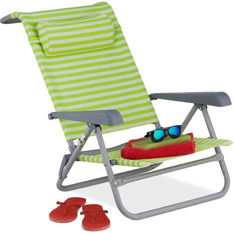 Relaxdays reclining beach chair, sun lounger, headrest, adjustable, folding, armrest & bottle opener, green/white