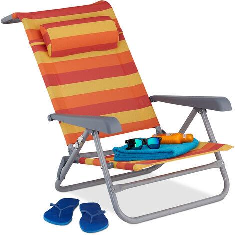 Relaxdays reclining beach chair, sun lounger, headrest, adjustable, folding, armrest & bottle opener, yellow/red/orange