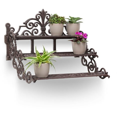 Relaxdays Rectangular Flower Steps Small Cast Iron Flower Bench for Flowers and Flower Pots, Strong Flower Stand Rack Holder, 3 Stairs Steps in Rustic Cottage Style Garden Deco, Bronze