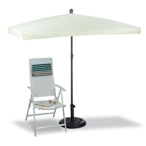 Relaxdays Rectangular Sun Umbrella, 200 x 120 cm, Ribs, Polyester, Tilt Function, Garden Parasol, Natural