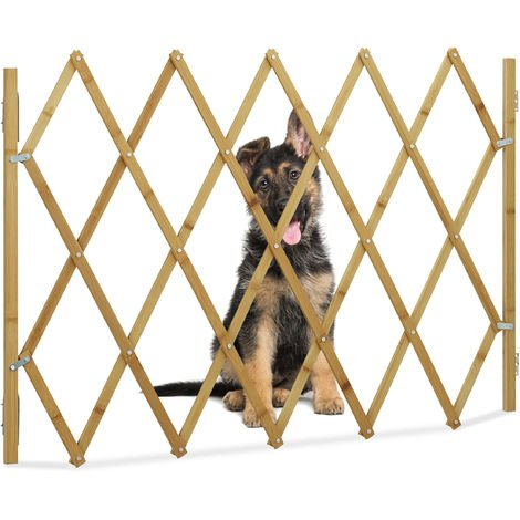 Relaxdays Retractable Dog Gate, Wooden Pet Barrier for Door & Stairs, Extendable Width max. 116.5cm, H: 82.5cm, Natural