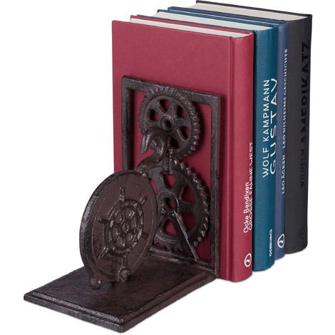 Relaxdays Retro Bookend, Cast Iron, Book Support, Gears, Steering Wheel, Decor HxWxD: 16 x 13 x 10 cm, Brown