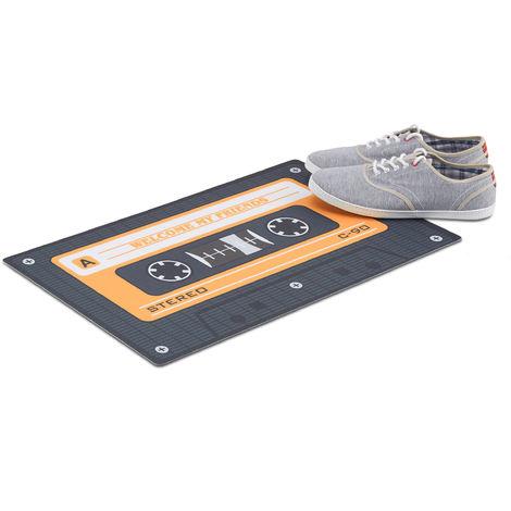 Relaxdays Retro Doormat, Non-Slip Audio Cassette Dirt Catcher, Tape Door Mat, PVC, 40x60cm, Black/Orange