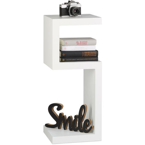 Relaxdays Retro Freestanding Bookcase, Wooden 3-Tier Decorative Shelf, HWD 75x30x30cm, White