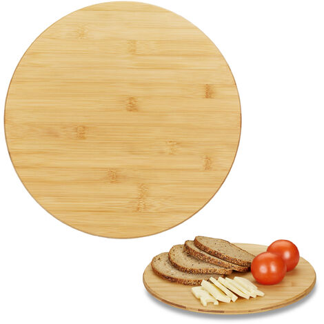 Relaxdays Revolving Bamboo Serving Platter, Round Lazy Susan, 360° Cheese Board, Spices, Snacks & Jams, Ø 32 cm, Natural