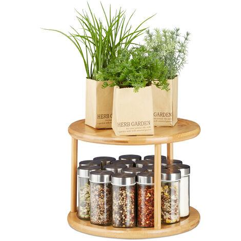 Relaxdays Revolving Spice Rack, Shelf Organiser, Cosmetic Stand, Kitchen Carousel, 2-Tier, HxW: 19.5 x 24.5 cm, Bamboo