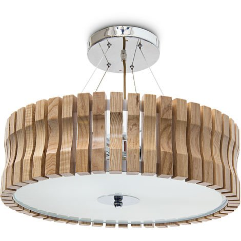 Relaxdays RINC Large Light Wood with Frosted Glass for Comfortable Light Adjustable Height Ceiling Lamp 5Lights, 14cm x 54cm, Natural Colour