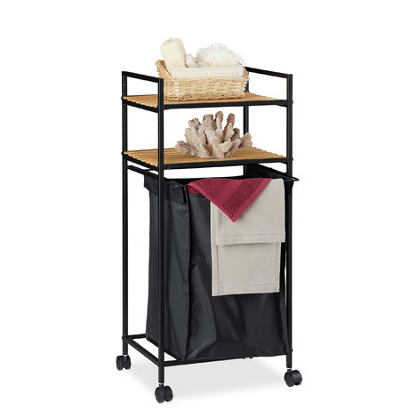 Relaxdays Rolling Bathroom Shelf, 2 Tiers, Rack with Laundry Hamper, Metal, Bamboo, HWD: 89.5x39x32.5 cm, Black/Natural
