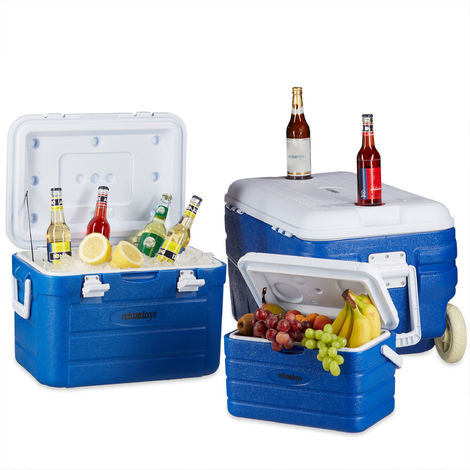 Relaxdays Rolling Cooler in Set, 3 Cool Box Trollies, Large Cool Pocket with Wheels, Water Drain, 10-80 Litres, Blue-White
