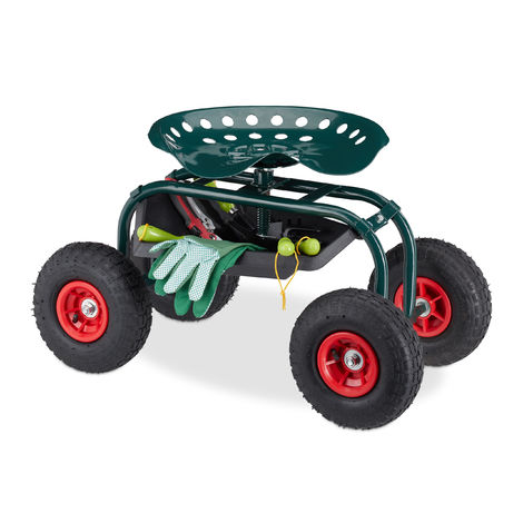 Relaxdays Rolling Garden Seat, Adjustable Seat Height, Mobile Garden Cart, With Tray, 125 kg Weight Capacity, Dark-green