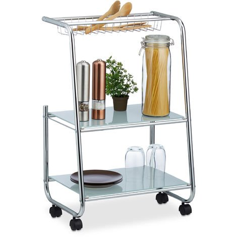 Relaxdays Rolling Metal Side Trolley with 2 Glass Shelves, Basket, Home Serving Cart Kitchen, H x W x D: 77 x 47 x 32.5 cm, Silver