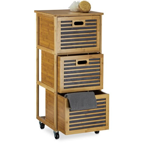 Relaxdays Rolling Tall Cabinet w/ Drawers made of Bamboo w/ 3 Compartments Cabinets, Size: 92 x 41 x 41 cm Bathroom Storage Solution w/ 3 Boxes w/ Wheels as Hamper & Holder for Bathroom Utensils