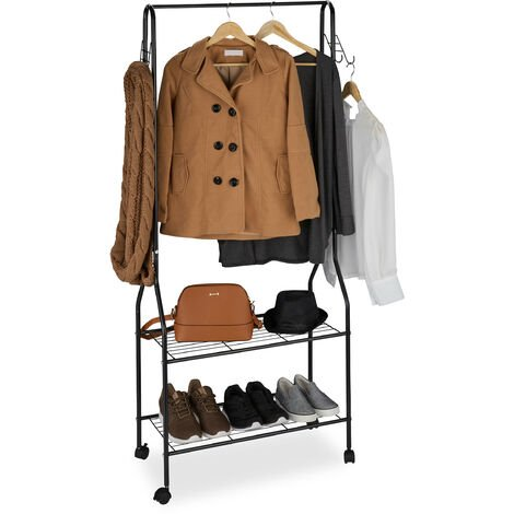 Relaxdays Rolling Wardrobe Stand with 2 Tiers for Shoes, Bags, Accessories, Hooks, Metal, Coat Rack, Black