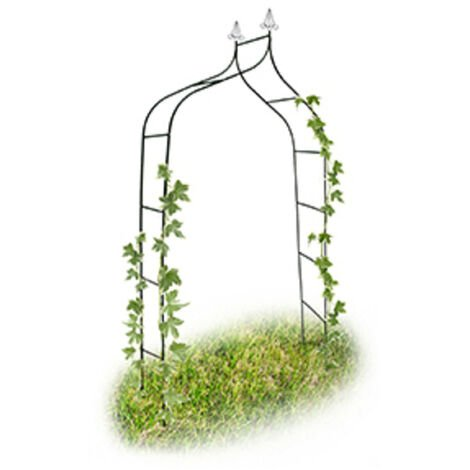Relaxdays Romantic Deco Rose Arch, Growth Support For Climbing Plants, Metal, 255 x 140 x 38 cm, Dark Green
