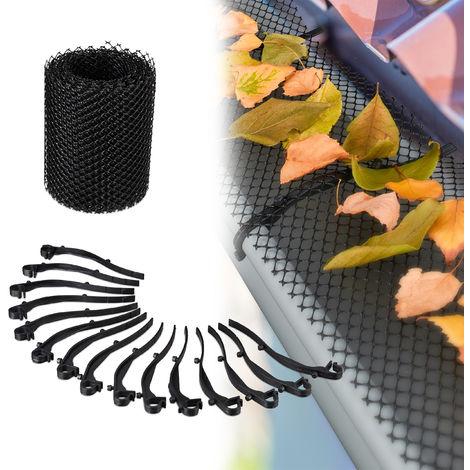 Relaxdays Roof Guttering Leaf Guard, 6 m Long, Plastic Eaves Protector, Leaf Barrier for Gutter Troughs, 15 cm Wide, Black