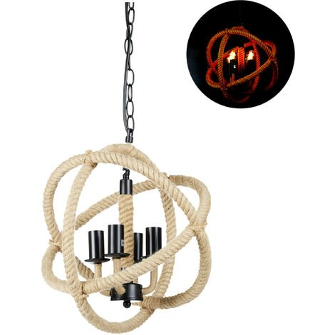 Relaxdays Rope Hanging Lamp, Chandelier Design, Retro Look, Dining Area, E14 Pendant, H x D 130 x 36 cm, Black/Natural
