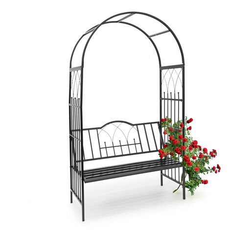 Relaxdays Rose Arch, with Bench, 203 x 114.5 x 59 cm, Arbour made of Powder-Coated Iron, with Seat for 2, for Climbing Plants, Black