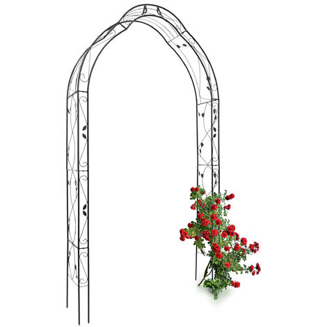 Relaxdays Rose Arch with Bird Decoration, 255 x 137 x 39 cm, Archway made of Iron, Support for Climbing Plants, Black