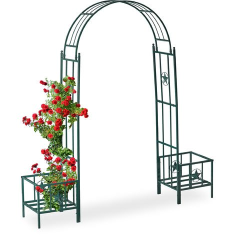 """main image of """"Relaxdays Rose Arch with Planters, Weatherproof, Metal Trellis, Climbers Support, Garden, HWD 226x204x45 cm, Green"""""""