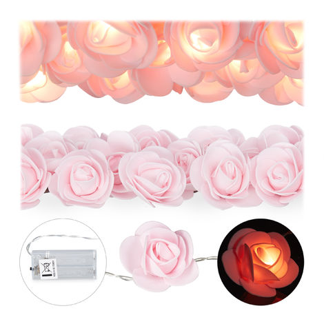 Relaxdays Rose String Lights, 20 LED Fairy Lights, Batteries, Weddings & Valentine's Day, Warm White, Pink