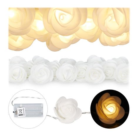 Relaxdays Rose String Lights, 20 LED Fairy Lights, Batteries, Weddings & Valentine's Day, Warm White, White