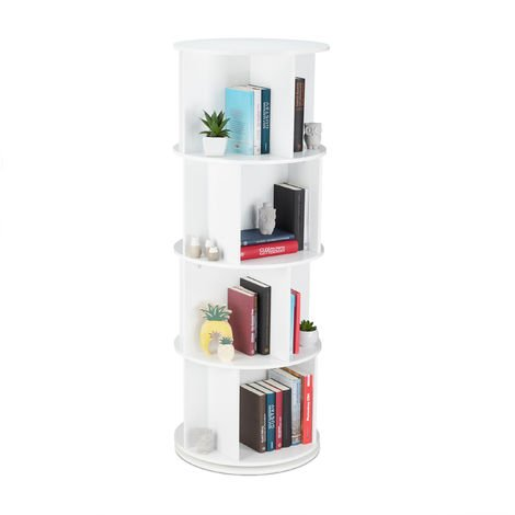 Relaxdays Rotating Bookshelf, Round Mobile Bookcase, Wood, CD & DVD Storage, Living Room & Office, H x D: 138 x 50 cm, White