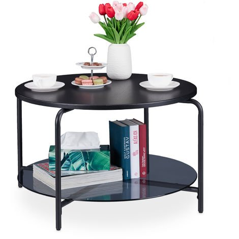 Relaxdays Round Coffee Table with 2 Tabletops, Living Room, For Decorations, Drinks, Magazines, HxD 45x80 cm, Black