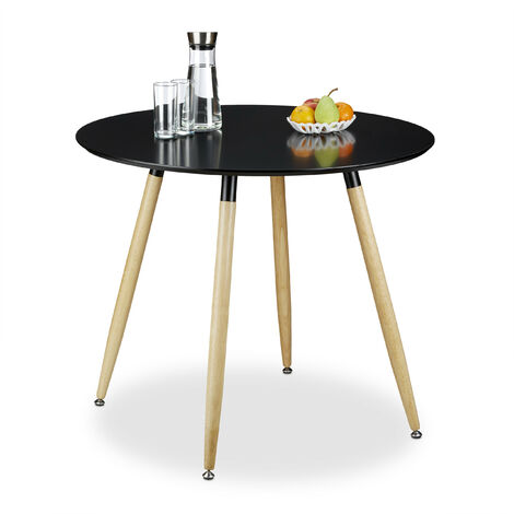 Relaxdays Round Dining Table ARVID, Wood, Size: 74 x 90 cm, Natural Legs, Rubber Protective Pads, Black