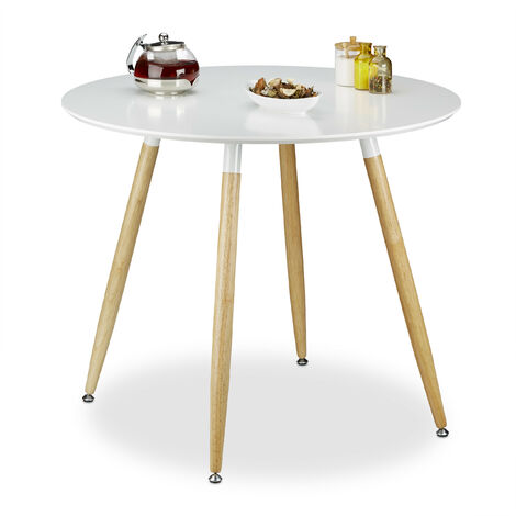 Relaxdays Round Dining Table ARVID, Wood, Size: 74 x 90 cm, Natural Legs, Rubber Protective Pads, White