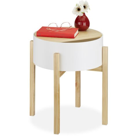 Relaxdays Round End Table, Storage Tier, Bedroom, Living Room, Wooden, MDF, Nightstand, 48x44x44 cm, Various Colours