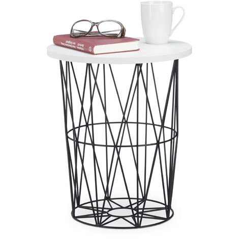 Relaxdays Round Metal Frame Side Table, Decorative Living Room Coffee Table, 42 cm Height, Black-White