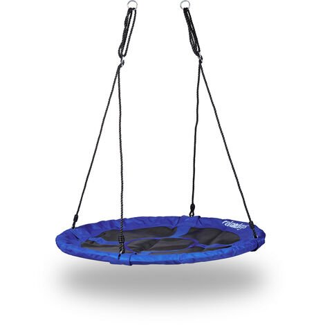 Relaxdays Round Nest Swing, Enclosed Seat, Up to 100 kg, Outdoor, HxWxD: 150 x 110 x 110 cm, Plate Swing, Dark Blue