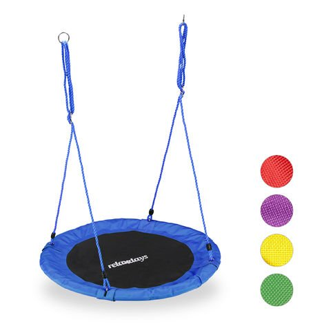 Relaxdays Round Nest Swing for Children & Adults, Adjustable, Ø 90 cm, Spider Web Seat, For up to 100 kg, Blue