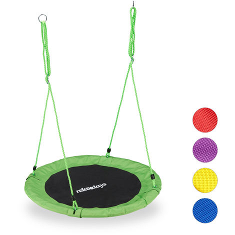 Relaxdays Round Nest Swing for Children & Adults, Adjustable, Ø 90 cm, Spider Web Seat, For up to 100 kg, Green