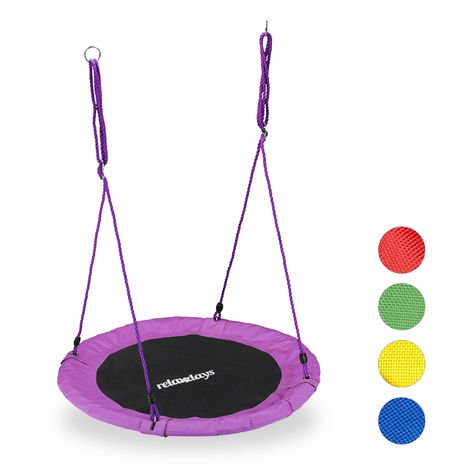 Relaxdays Round Nest Swing for Children & Adults, Adjustable, Ø 90 cm, Spider Web Seat, For up to 100 kg, Purple