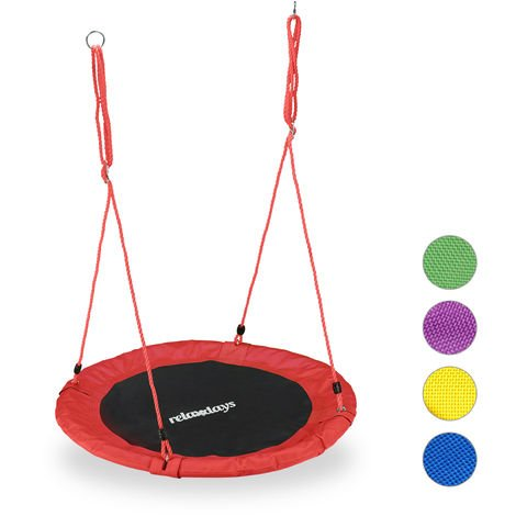 Relaxdays Round Nest Swing for Children & Adults, Adjustable, Ø 90 cm, Spider Web Seat, For up to 100 kg, Red