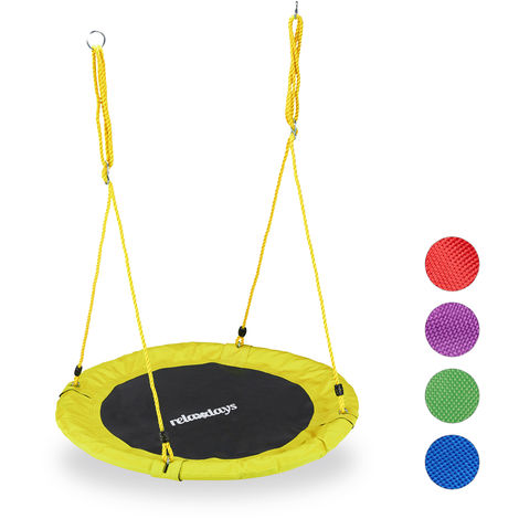 Relaxdays Round Nest Swing for Children & Adults, Adjustable, Ø 90 cm, Spider Web Seat, For up to 100 kg, Yellow