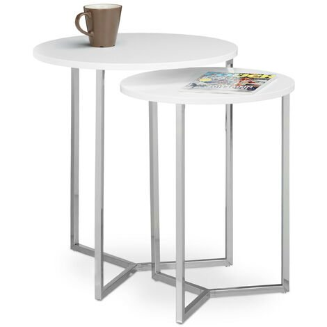 Relaxdays Round Set of 2 End Tables with Wooden Table Top, Size: 50 and 40 cm, Chromed, White