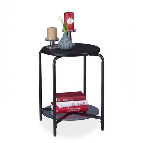 Relaxdays Round Side Table, 2 Tiers, Glass Tabletop, Coffee Table, Phone Stand, HxD 55x50 cm, Black