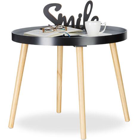 Relaxdays Round Side Table, Desk, Drawer, Scandinavian Design, Nightstand, H x Ø: 51 x 65 cm, Wood, Black-Grey