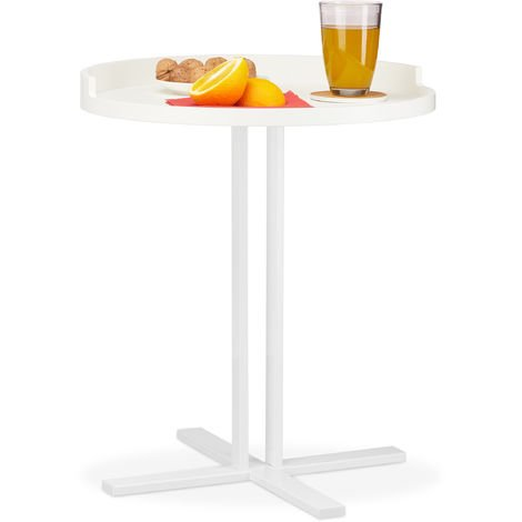 Relaxdays Round Side Table, Metal Base, Tray with Raised Edge, Living Room Accent Stand, H x Ø: 53 x 46 cm, White